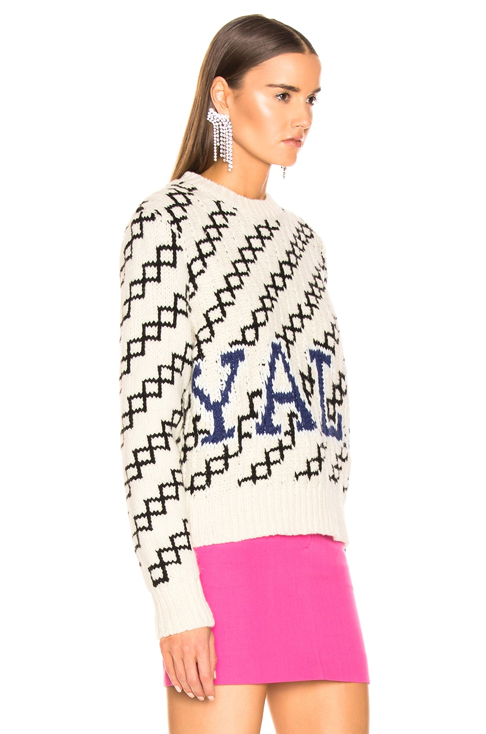 Image 3 of CALVIN KLEIN 205W39NYC University Sweater in Ecru & Black