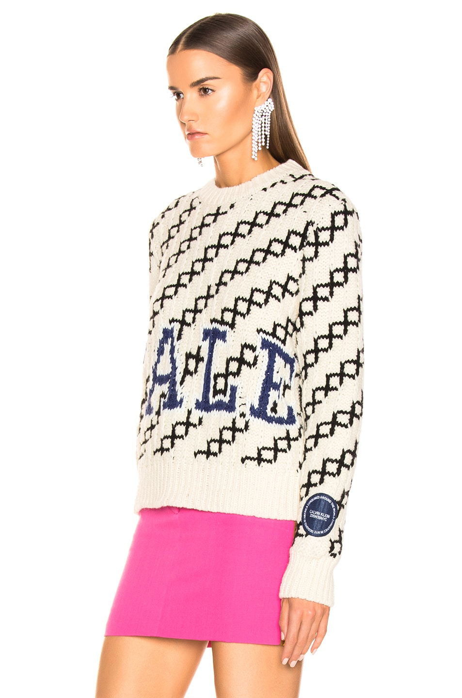 Image 4 of CALVIN KLEIN 205W39NYC University Sweater in Ecru & Black