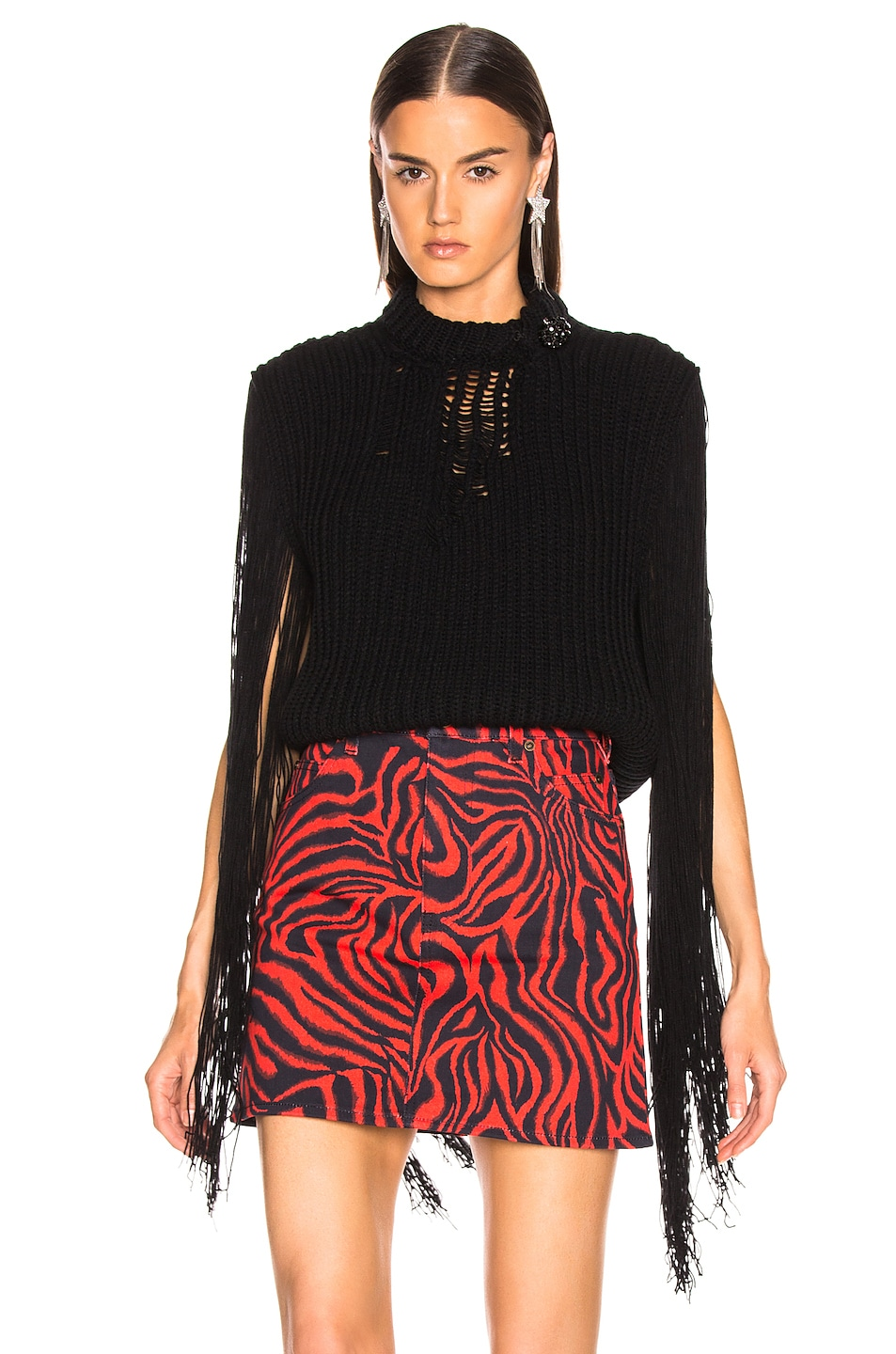 Image 1 of CALVIN KLEIN 205W39NYC Fringe Knit in Black