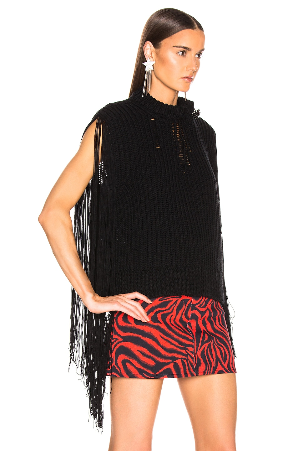 Image 2 of CALVIN KLEIN 205W39NYC Fringe Knit in Black