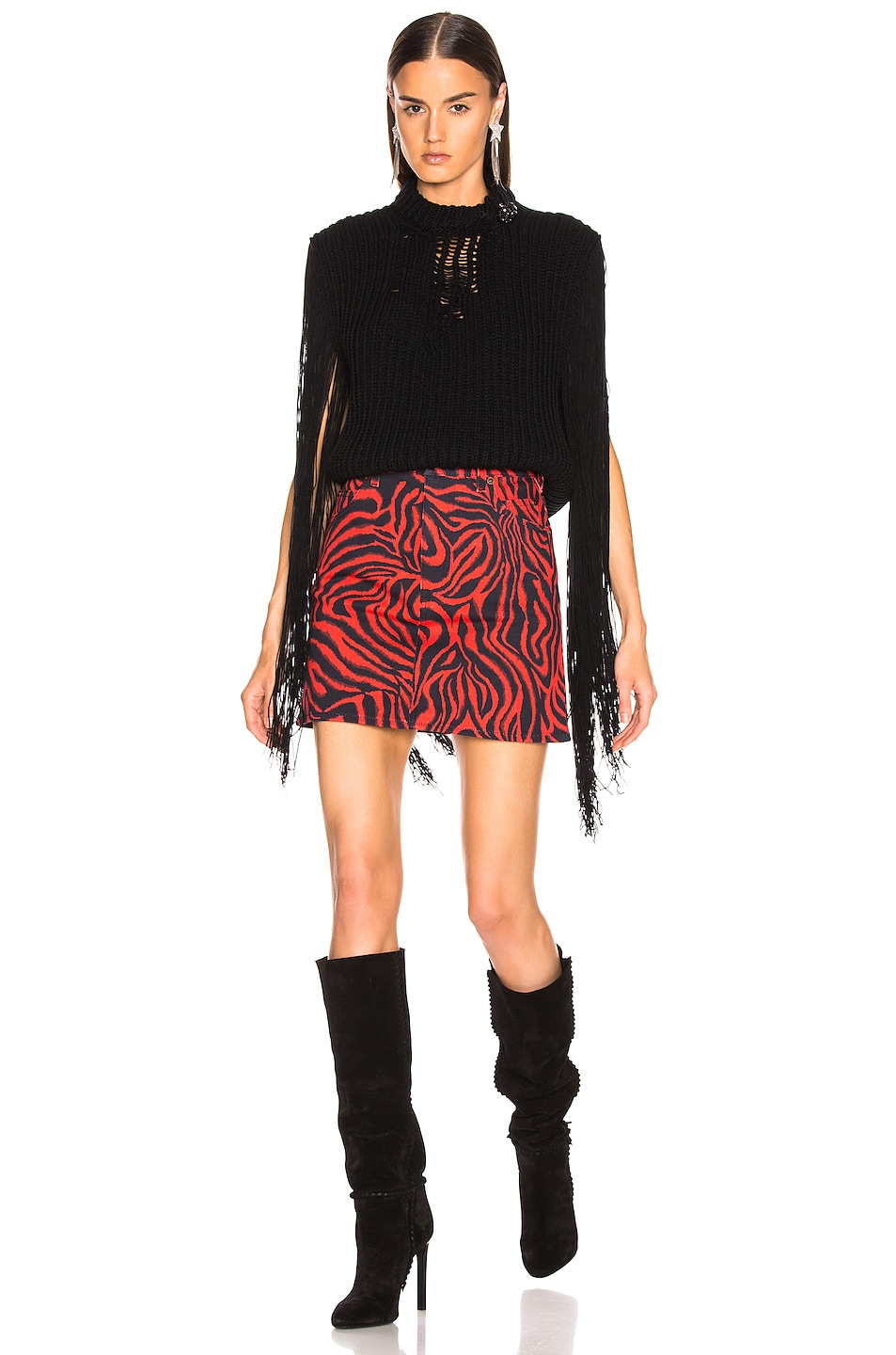 Image 4 of CALVIN KLEIN 205W39NYC Fringe Knit in Black