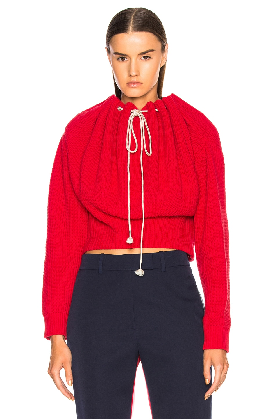 Image 1 of CALVIN KLEIN 205W39NYC Drawstring Neck Sweater in Red