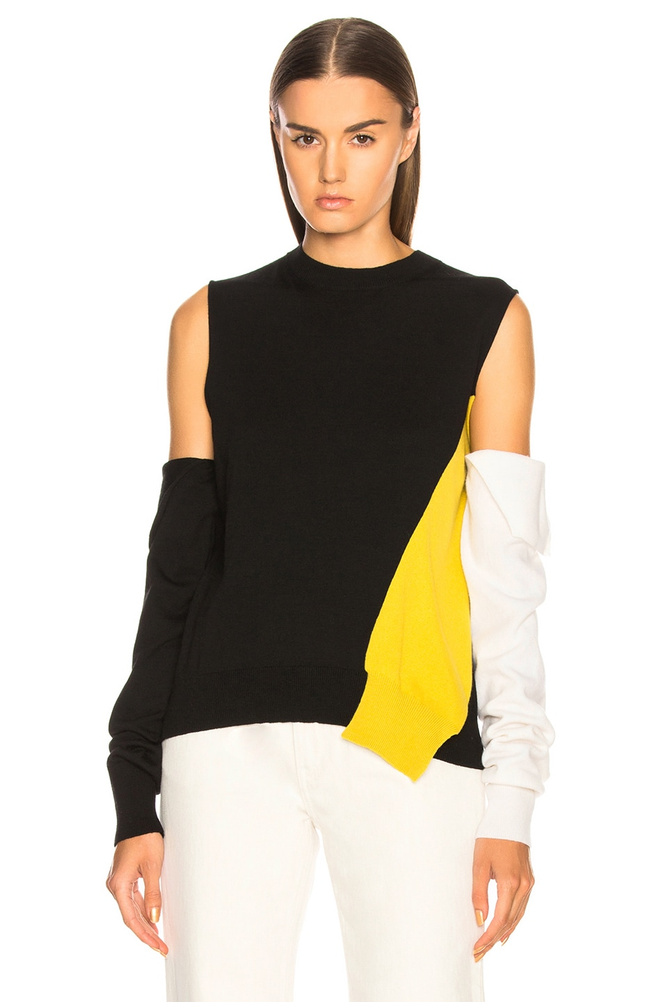 Image 1 of CALVIN KLEIN 205W39NYC Fold Down Sleeve Sweater in Black, Yellow & White