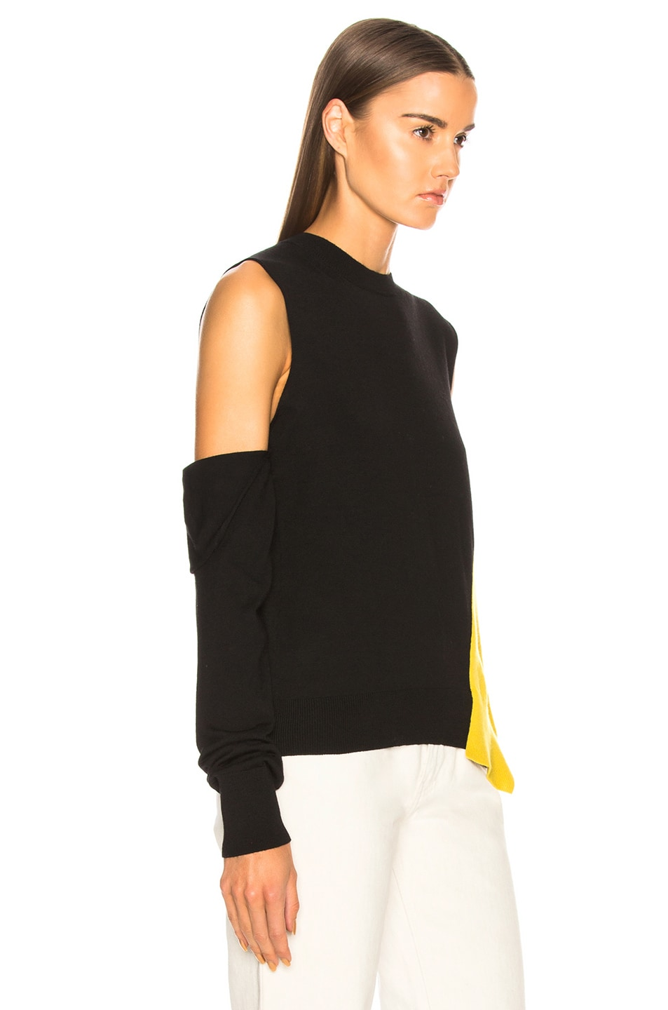 Image 2 of CALVIN KLEIN 205W39NYC Fold Down Sleeve Sweater in Black, Yellow & White
