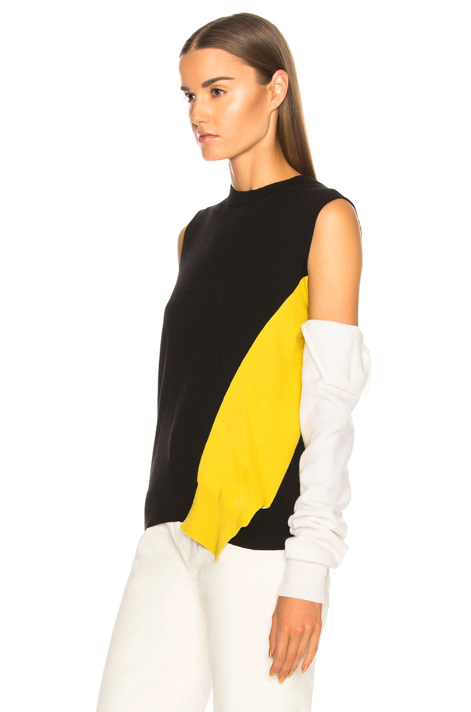 Image 3 of CALVIN KLEIN 205W39NYC Fold Down Sleeve Sweater in Black, Yellow & White