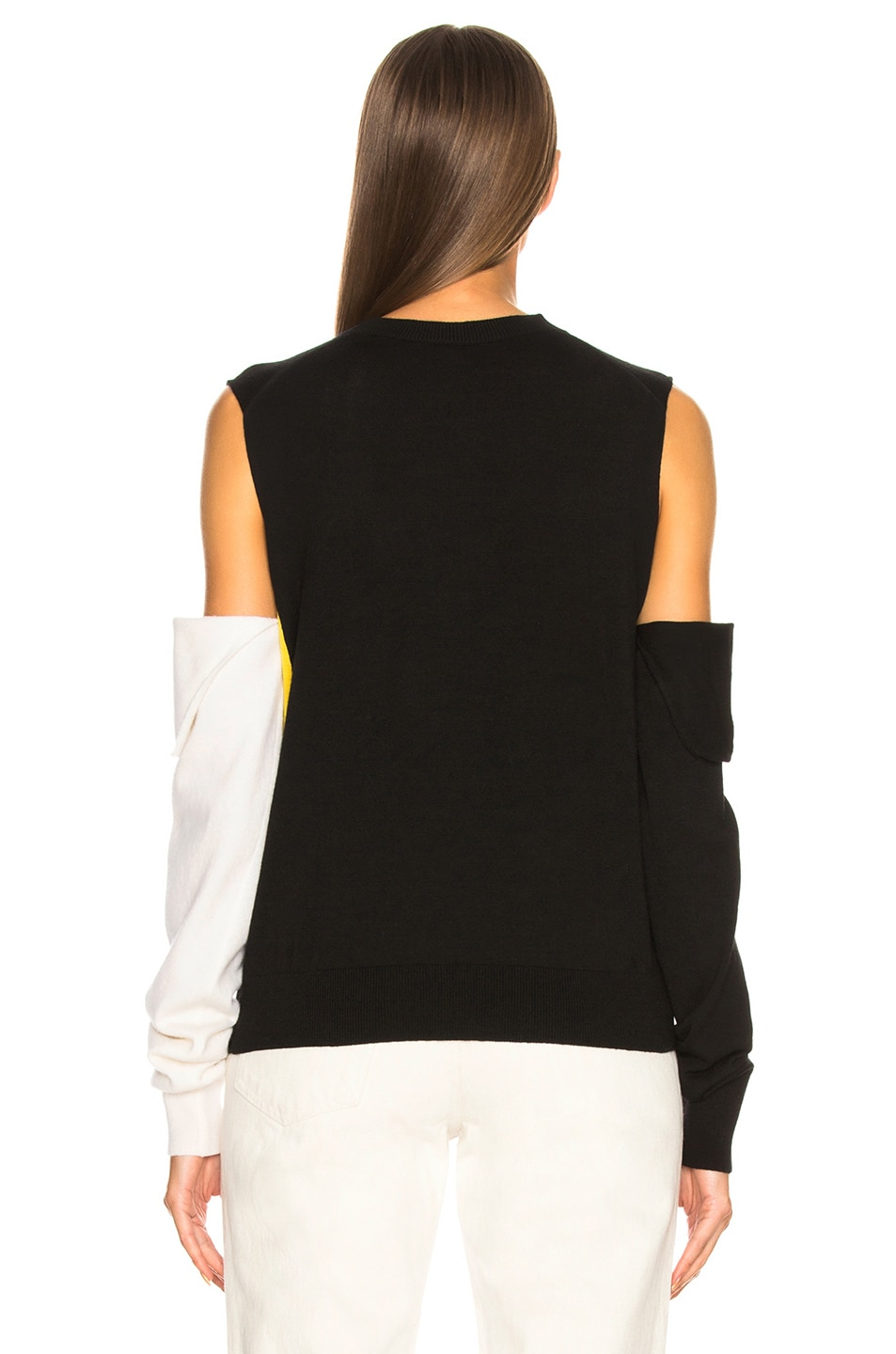 Image 4 of CALVIN KLEIN 205W39NYC Fold Down Sleeve Sweater in Black, Yellow & White
