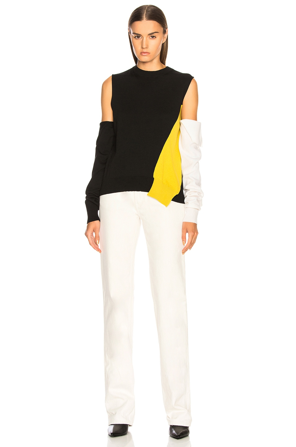 Image 5 of CALVIN KLEIN 205W39NYC Fold Down Sleeve Sweater in Black, Yellow & White
