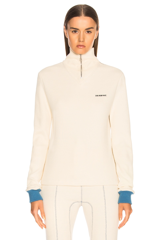 Image 2 of CALVIN KLEIN 205W39NYC Turtleneck Zip Sweater in Ecru