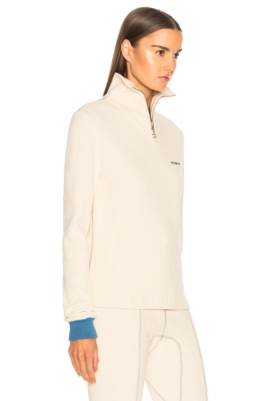 Image 3 of CALVIN KLEIN 205W39NYC Turtleneck Zip Sweater in Ecru
