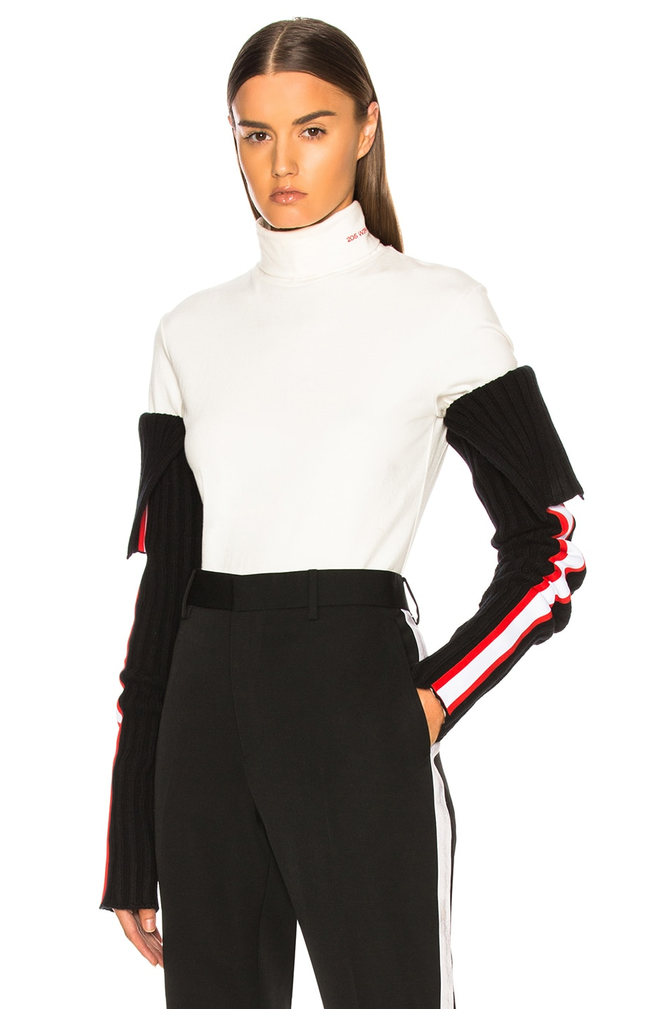Image 1 of CALVIN KLEIN 205W39NYC Intarsia Stripe Trim Rib Knit Sleeves in Black, Red & White