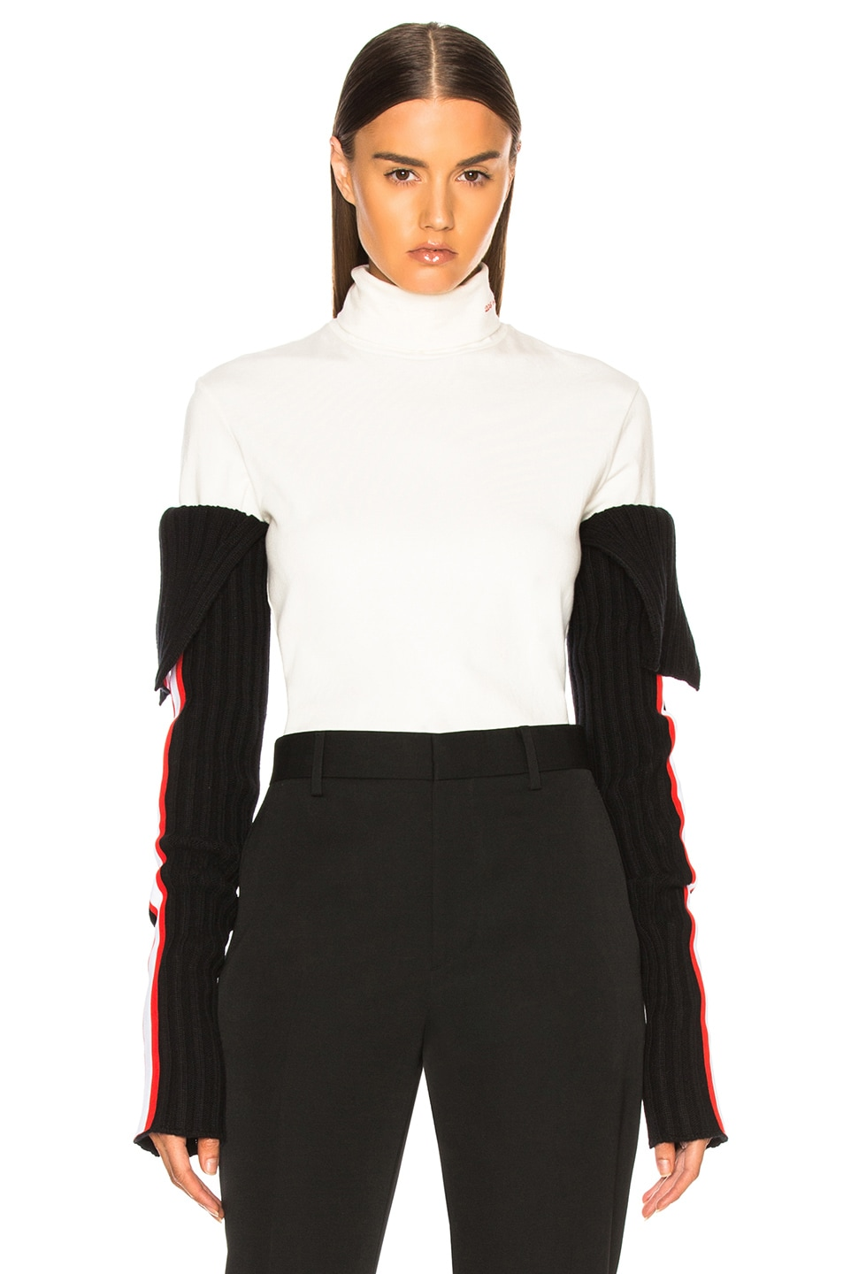 Image 2 of CALVIN KLEIN 205W39NYC Intarsia Stripe Trim Rib Knit Sleeves in Black, Red & White