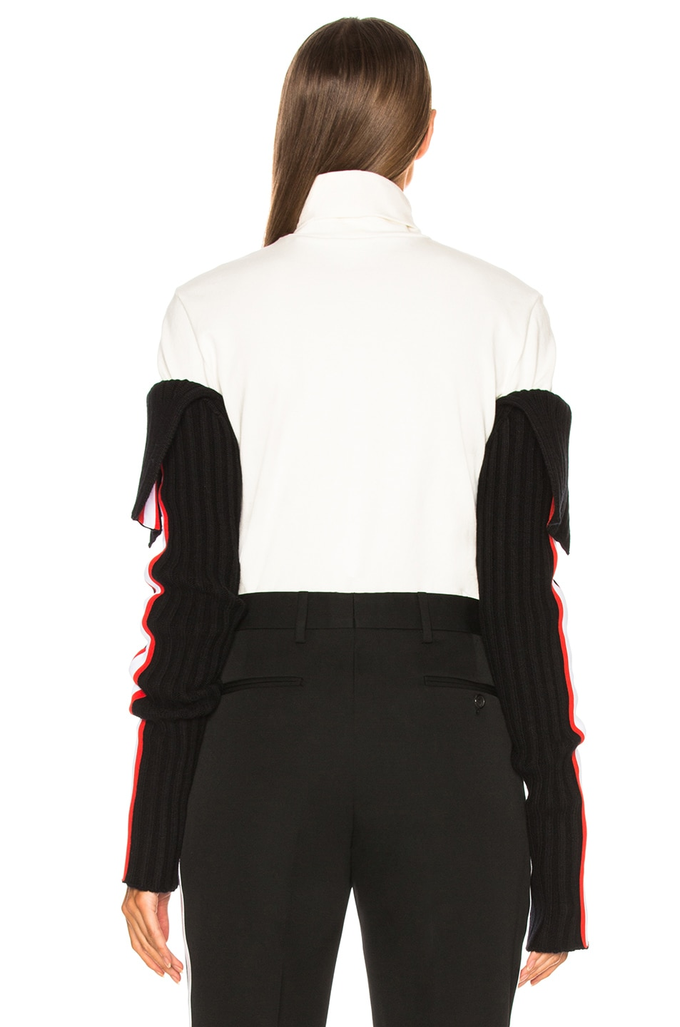 Image 4 of CALVIN KLEIN 205W39NYC Intarsia Stripe Trim Rib Knit Sleeves in Black, Red & White
