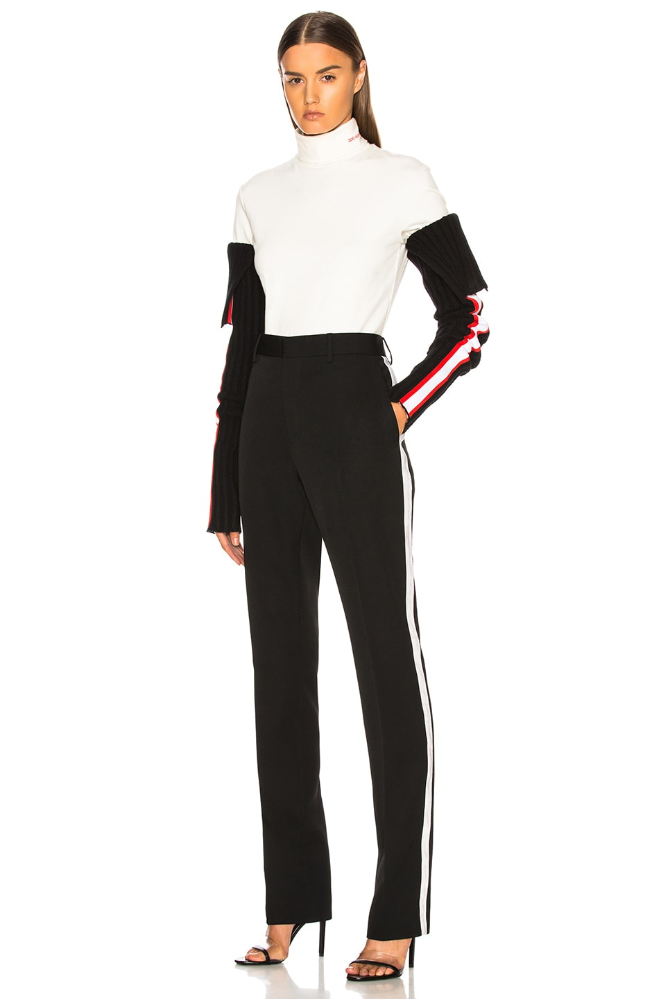 Image 5 of CALVIN KLEIN 205W39NYC Intarsia Stripe Trim Rib Knit Sleeves in Black, Red & White