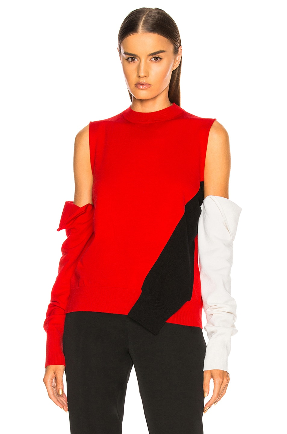 Image 1 of CALVIN KLEIN 205W39NYC Fold Down Sleeve Sweater in Red, Black & White