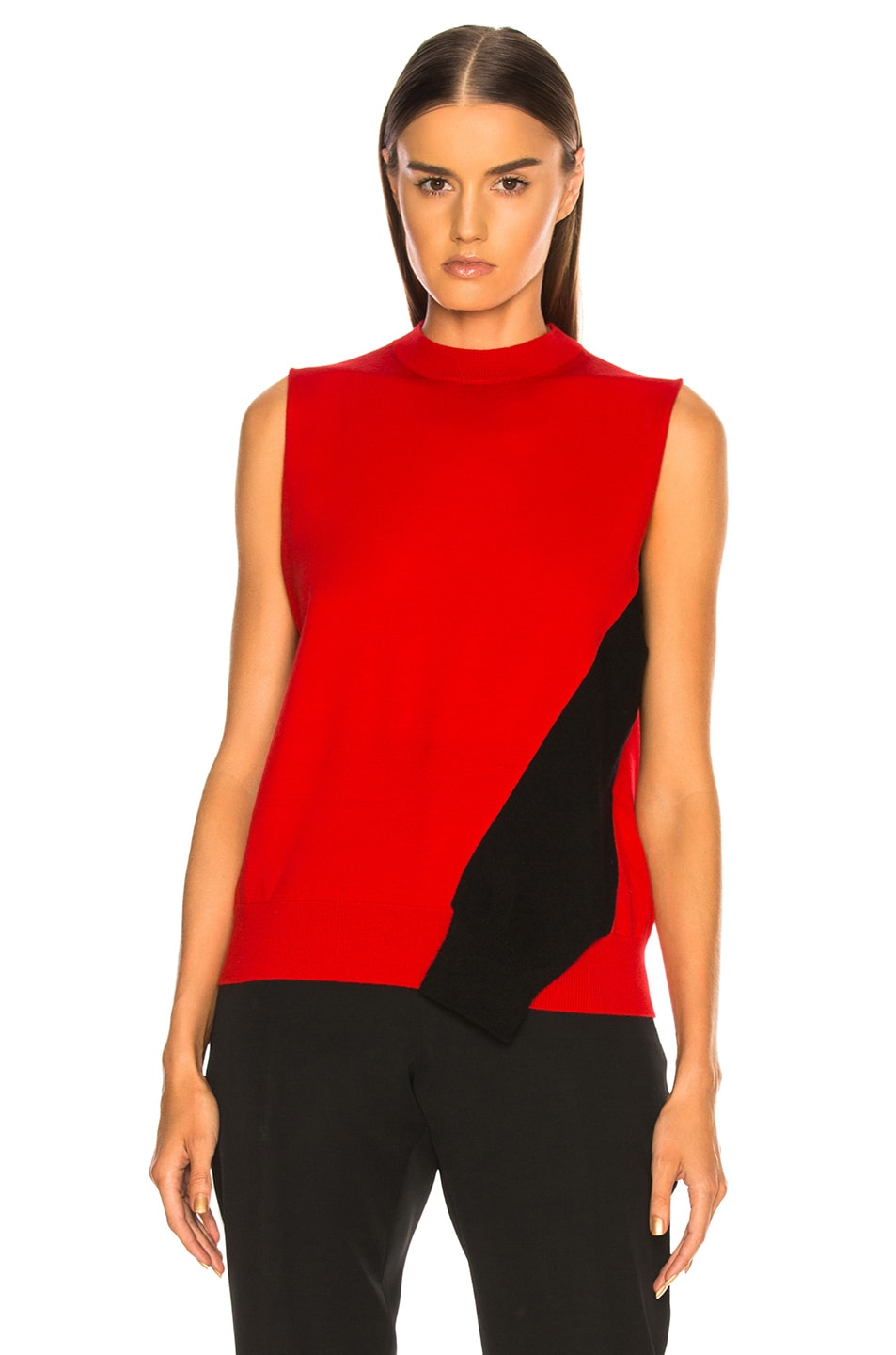 Image 2 of CALVIN KLEIN 205W39NYC Fold Down Sleeve Sweater in Red, Black & White