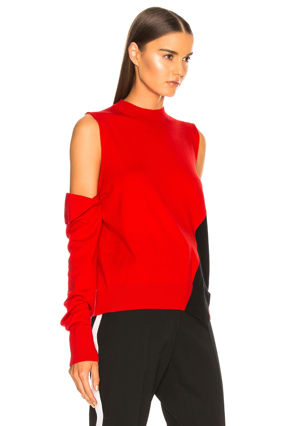 Image 3 of CALVIN KLEIN 205W39NYC Fold Down Sleeve Sweater in Red, Black & White