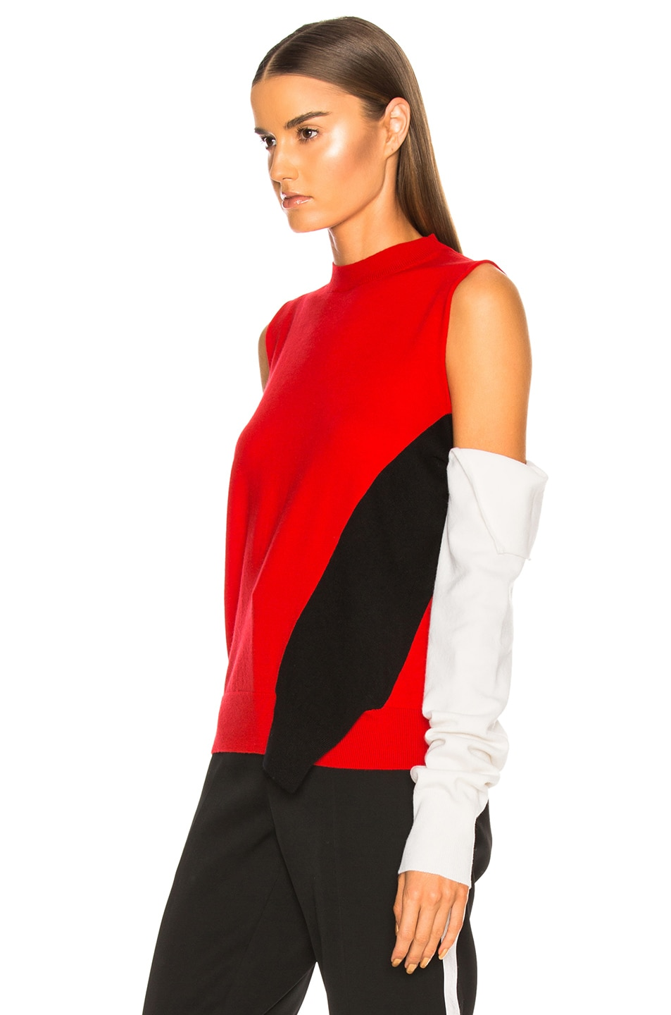 Image 4 of CALVIN KLEIN 205W39NYC Fold Down Sleeve Sweater in Red, Black & White