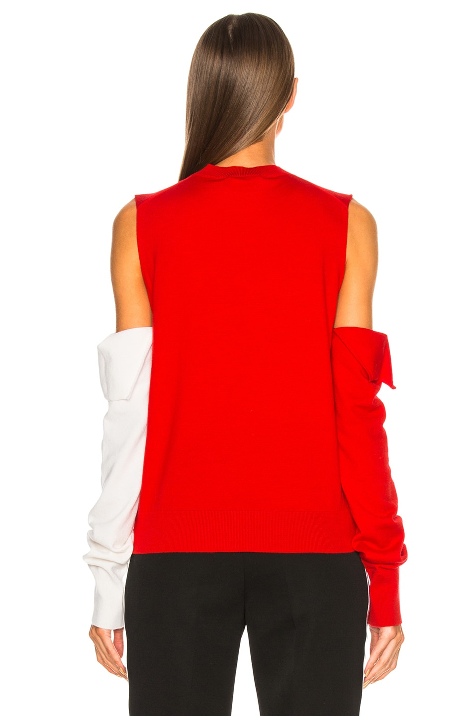 Image 5 of CALVIN KLEIN 205W39NYC Fold Down Sleeve Sweater in Red, Black & White