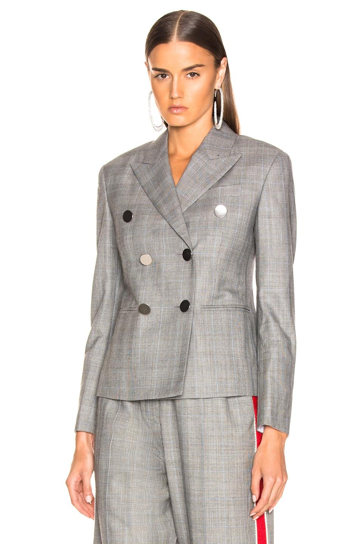 Image 1 of CALVIN KLEIN 205W39NYC Shrunken Double Breasted Check Blazer in Black, White & Light Sky