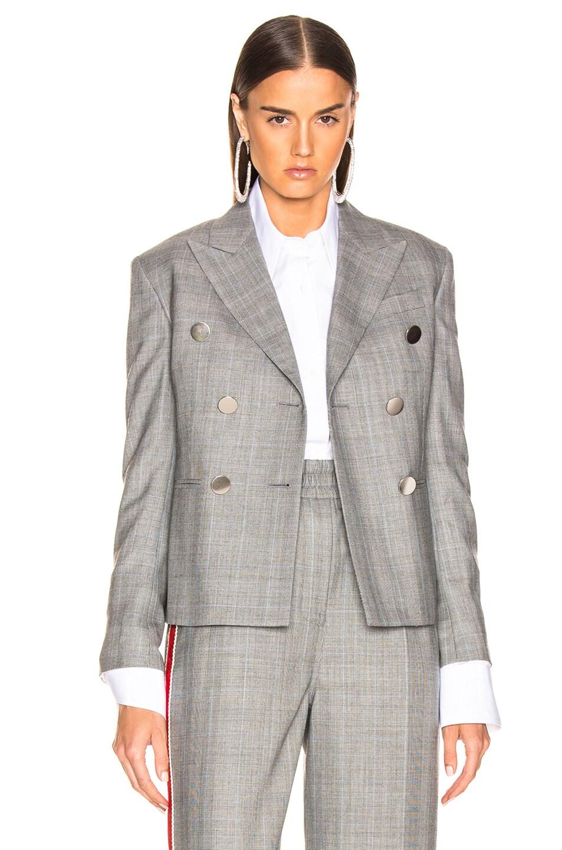 Image 2 of CALVIN KLEIN 205W39NYC Shrunken Double Breasted Check Blazer in Black, White & Light Sky