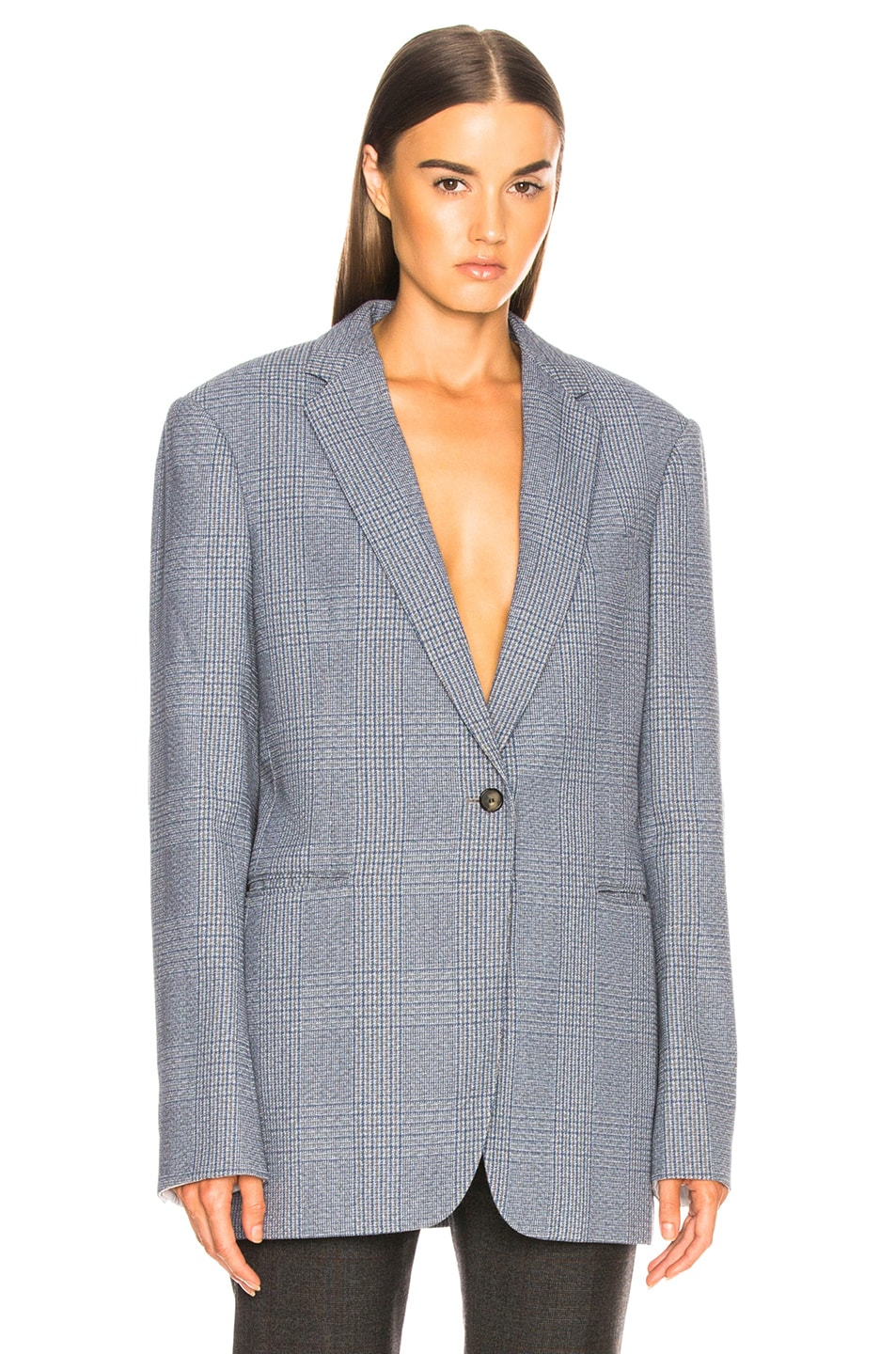 Image 1 of CALVIN KLEIN 205W39NYC Plaid Single Button Blazer in Azure Grey