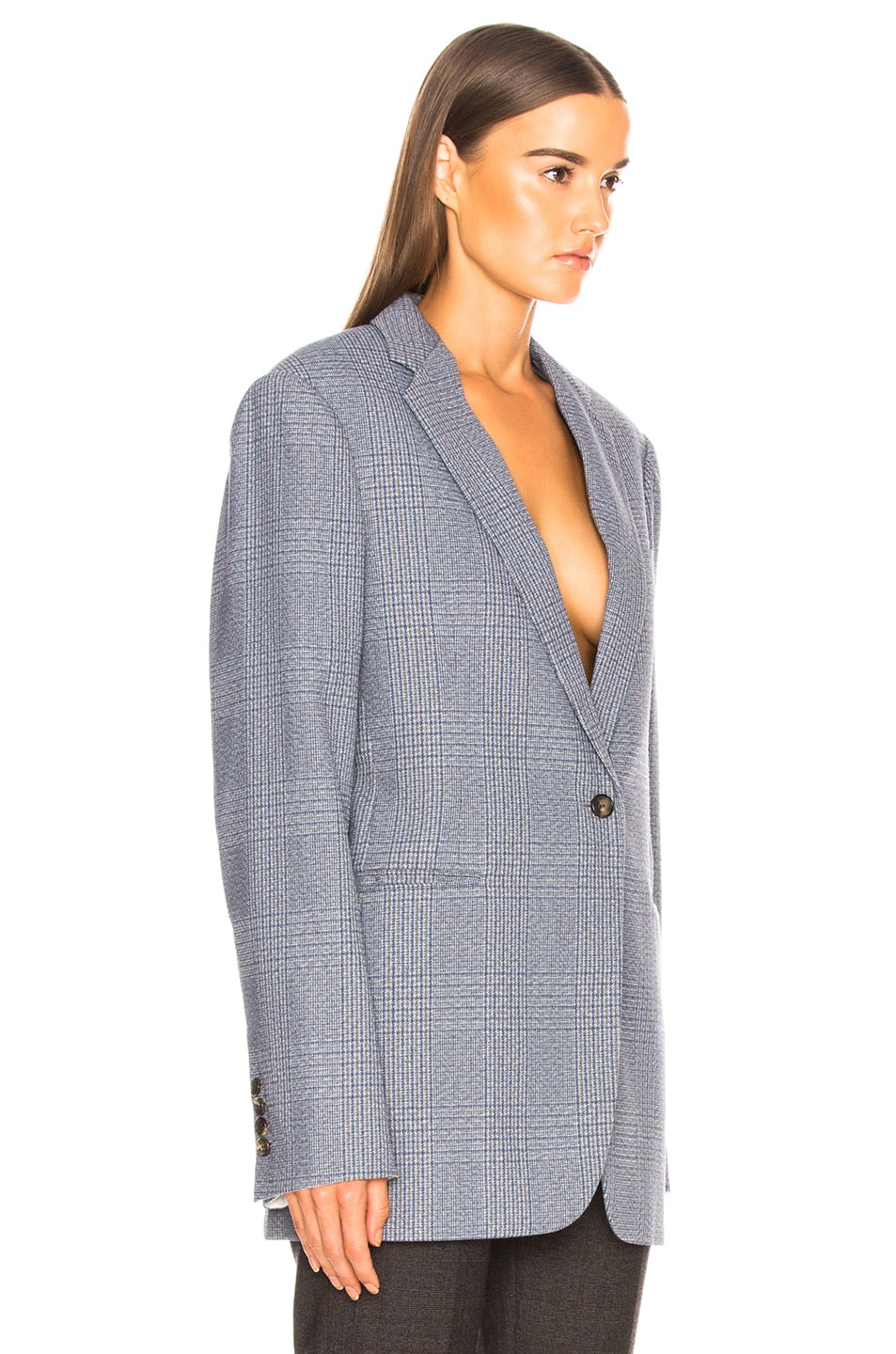 Image 2 of CALVIN KLEIN 205W39NYC Plaid Single Button Blazer in Azure Grey