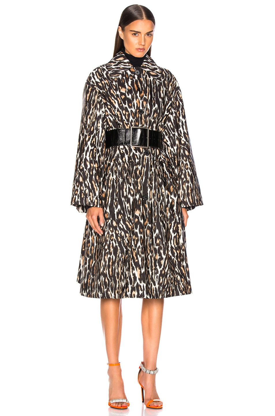 Image 1 of CALVIN KLEIN 205W39NYC Leopard Print Coat in Ivory, Brown & Black