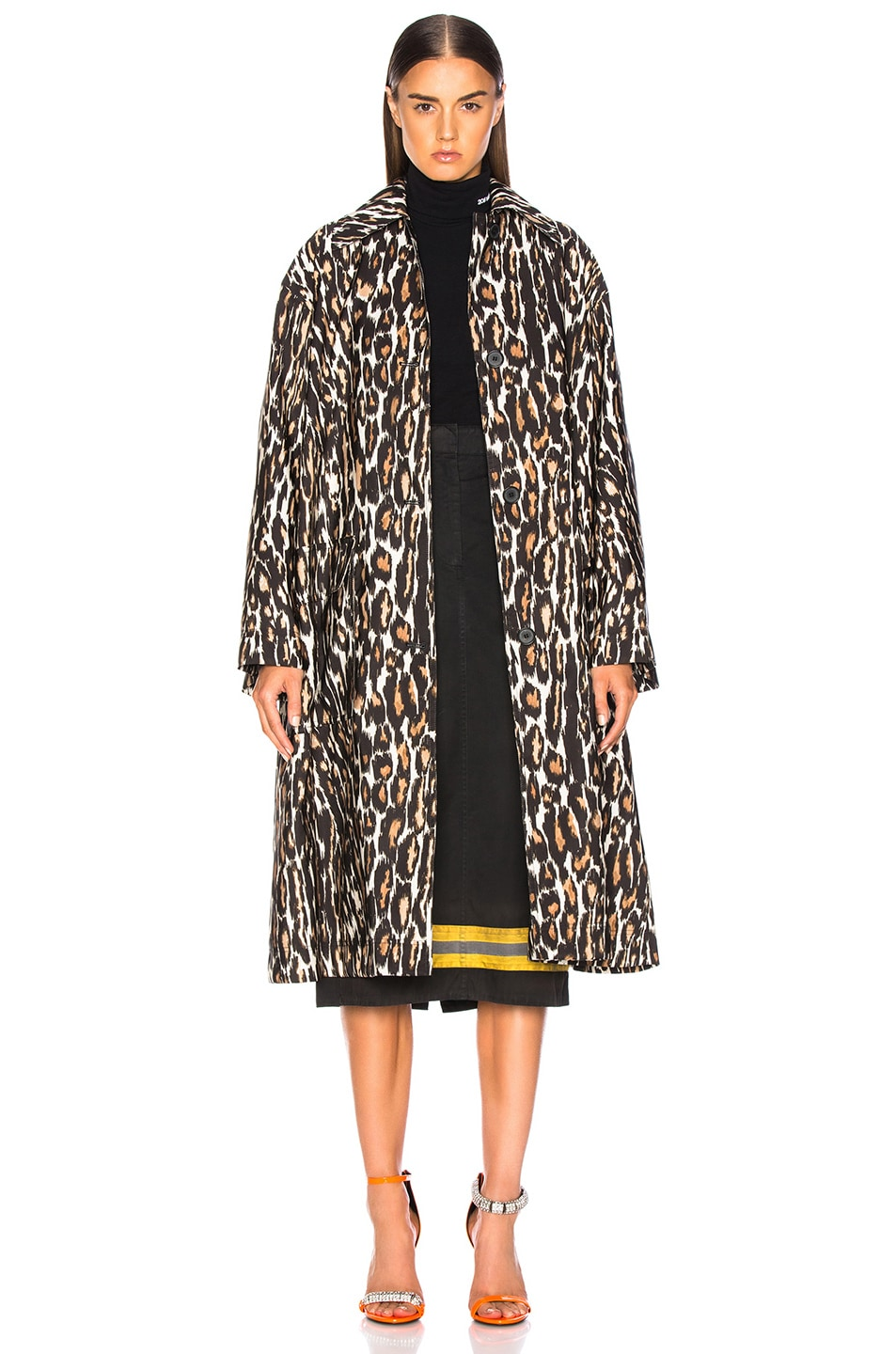 Image 2 of CALVIN KLEIN 205W39NYC Leopard Print Coat in Ivory, Brown & Black