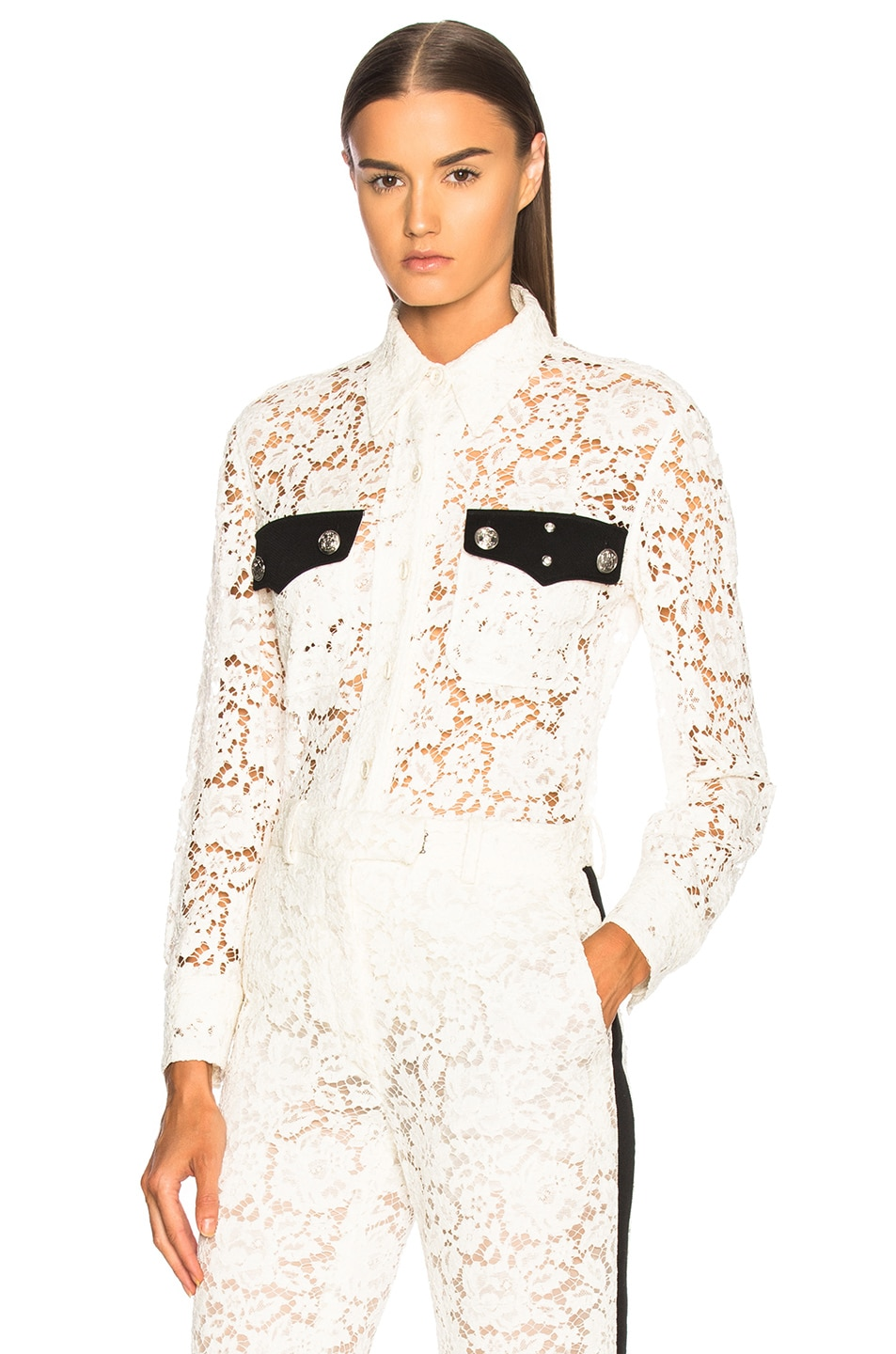 Image 1 of CALVIN KLEIN 205W39NYC Cotton Viscose Lace Jacket in Ivory