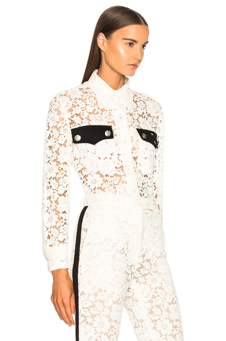 Image 2 of CALVIN KLEIN 205W39NYC Cotton Viscose Lace Jacket in Ivory