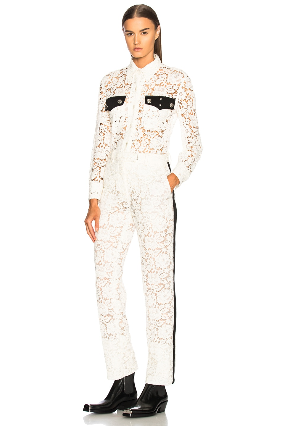Image 4 of CALVIN KLEIN 205W39NYC Cotton Viscose Lace Jacket in Ivory
