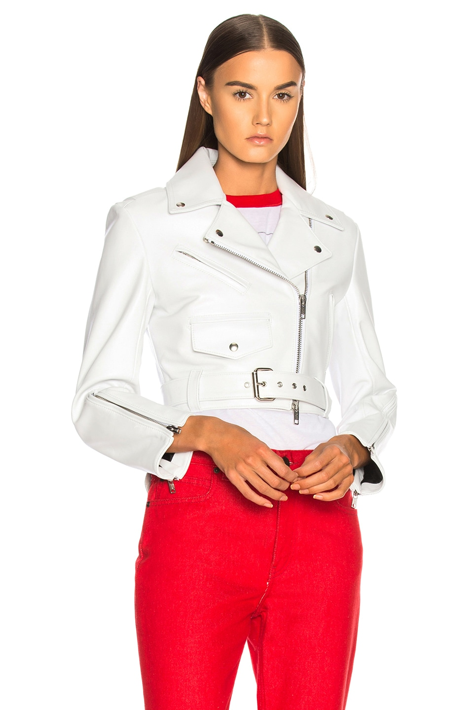 Image 2 of CALVIN KLEIN 205W39NYC Shiny Plonge Leather Cropped Jacket in White
