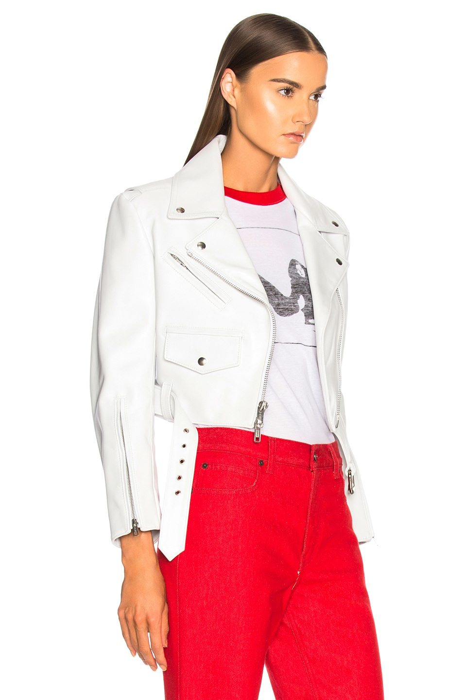 Image 3 of CALVIN KLEIN 205W39NYC Shiny Plonge Leather Cropped Jacket in White