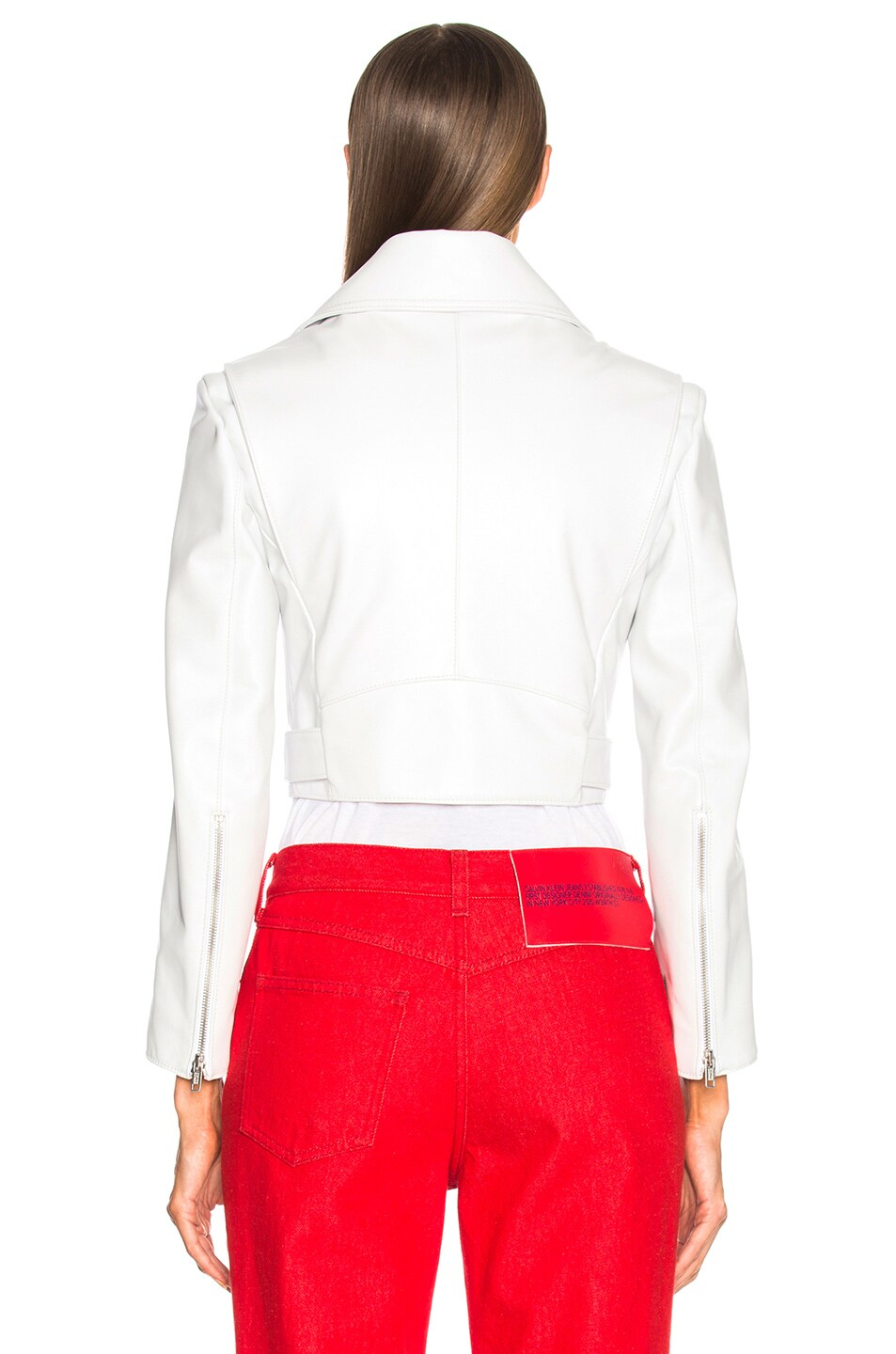 Image 4 of CALVIN KLEIN 205W39NYC Shiny Plonge Leather Cropped Jacket in White