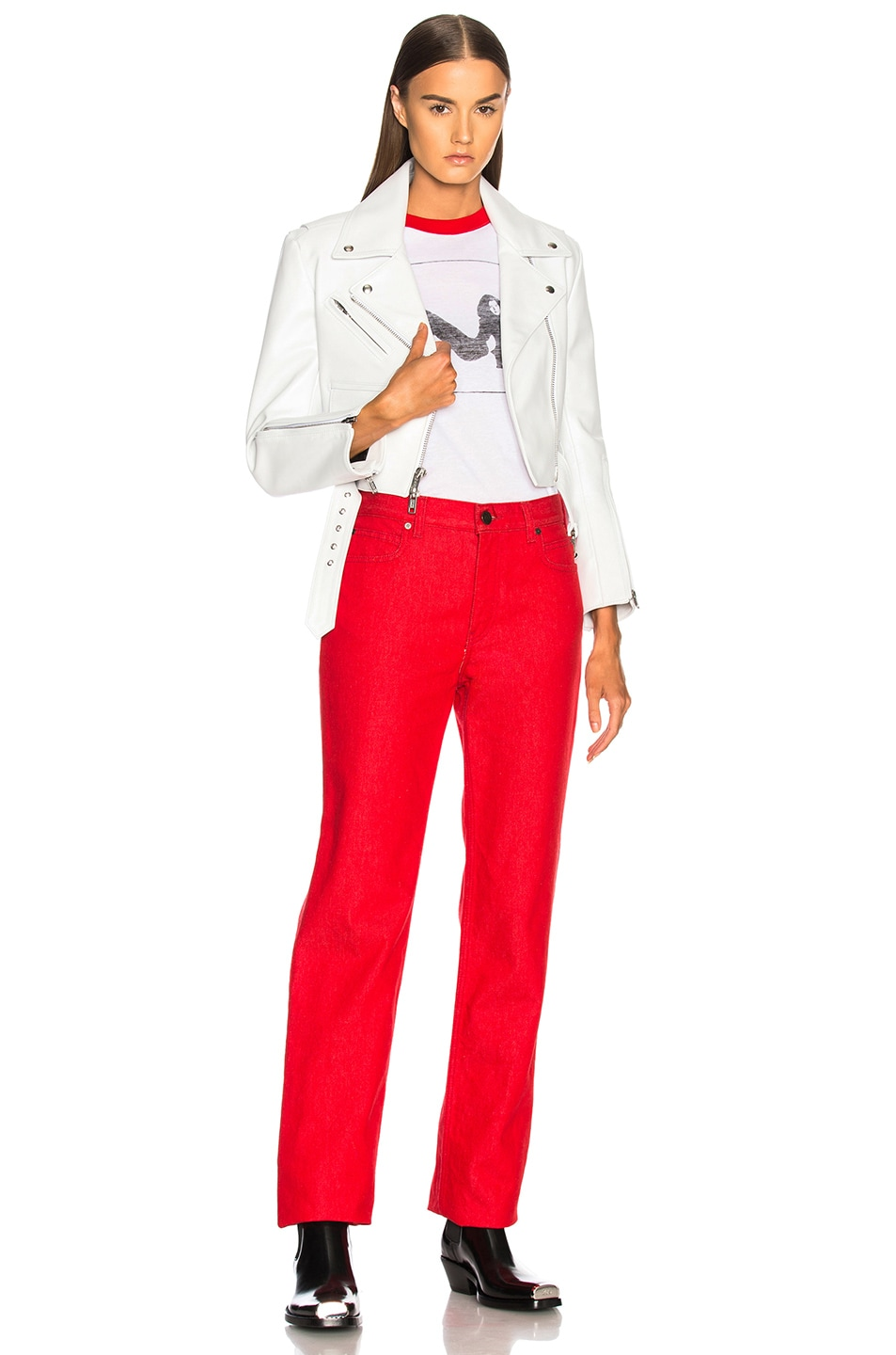 Image 5 of CALVIN KLEIN 205W39NYC Shiny Plonge Leather Cropped Jacket in White