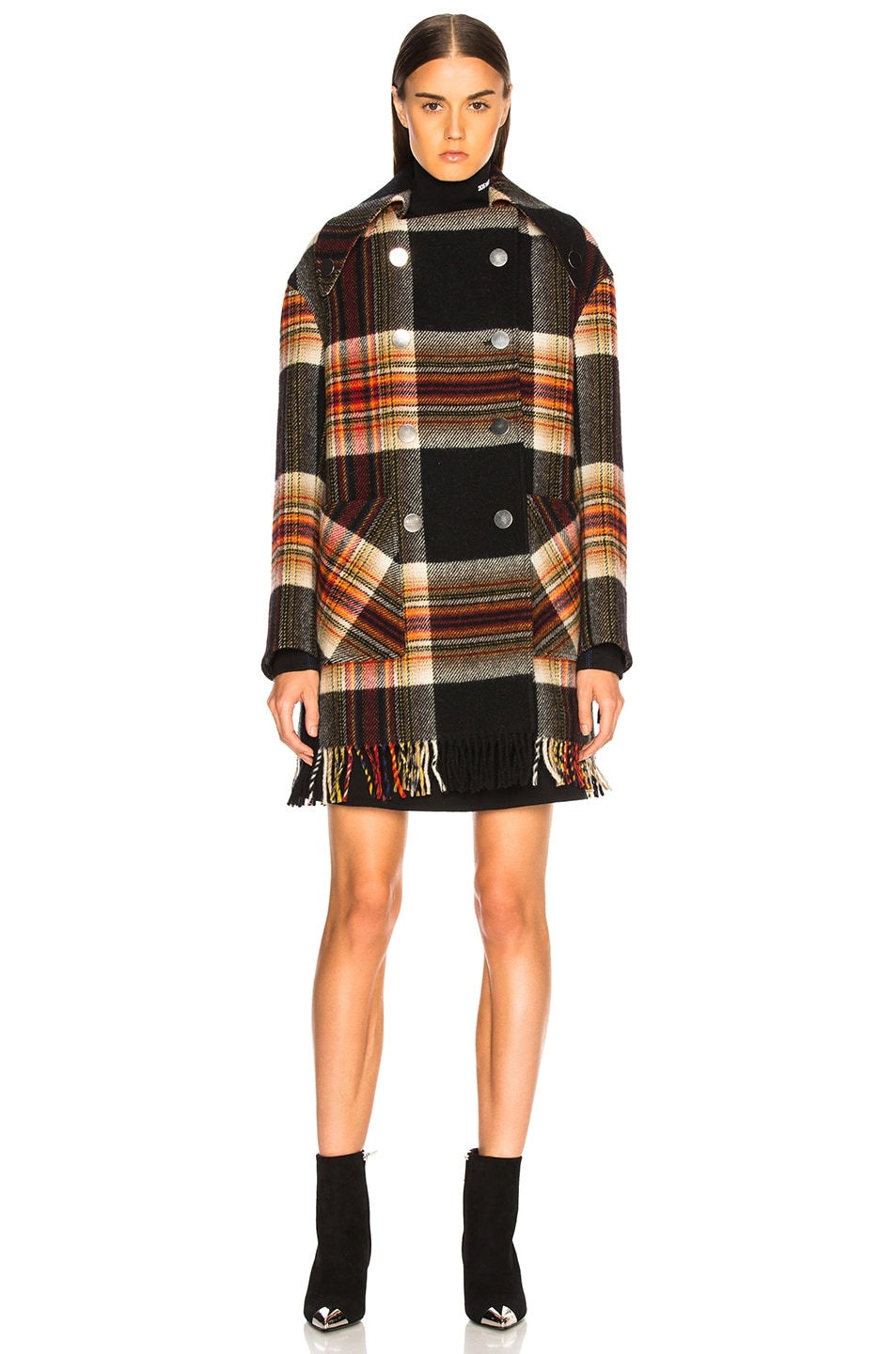 Image 1 of CALVIN KLEIN 205W39NYC Double Breasted Plaid Blanket Coat in Red, Yellow, Blue & Black