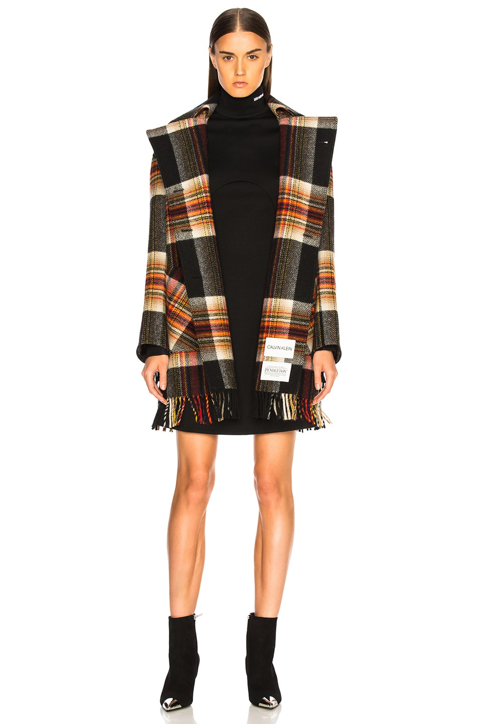 Image 2 of CALVIN KLEIN 205W39NYC Double Breasted Plaid Blanket Coat in Red, Yellow, Blue & Black