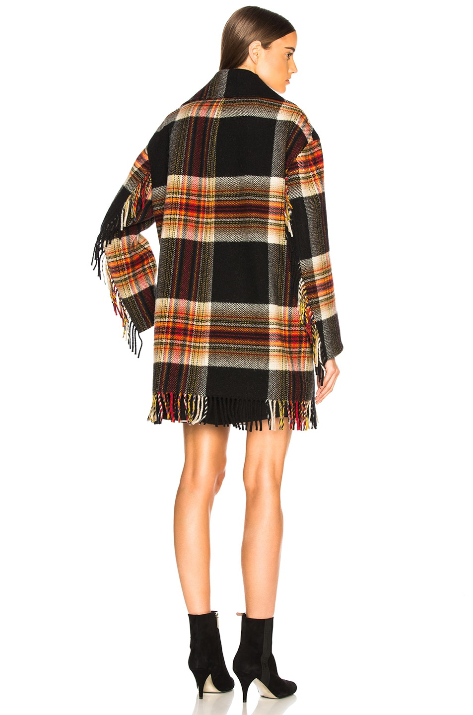 Image 5 of CALVIN KLEIN 205W39NYC Double Breasted Plaid Blanket Coat in Red, Yellow, Blue & Black