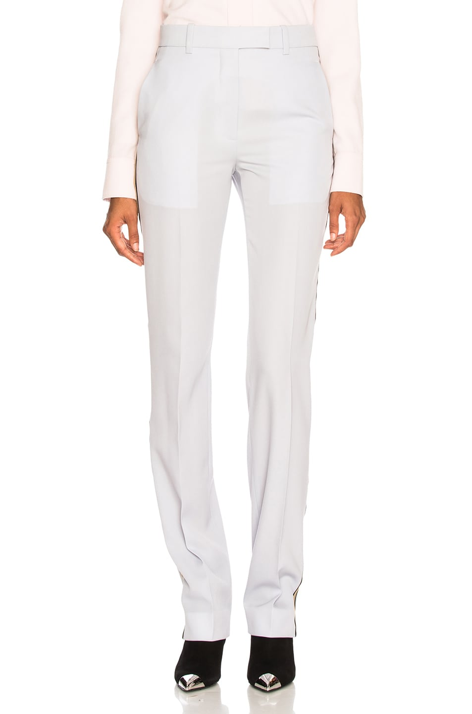 Image 2 of CALVIN KLEIN 205W39NYC Wool Gabardine Side Stripe Trousers in Light Blue