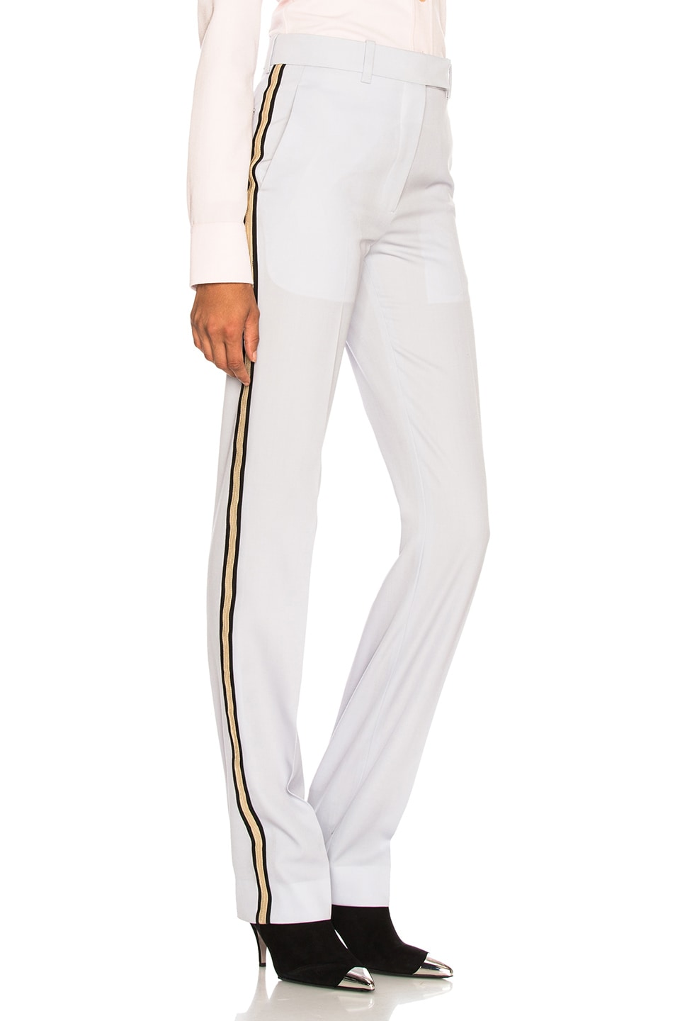 Image 3 of CALVIN KLEIN 205W39NYC Wool Gabardine Side Stripe Trousers in Light Blue