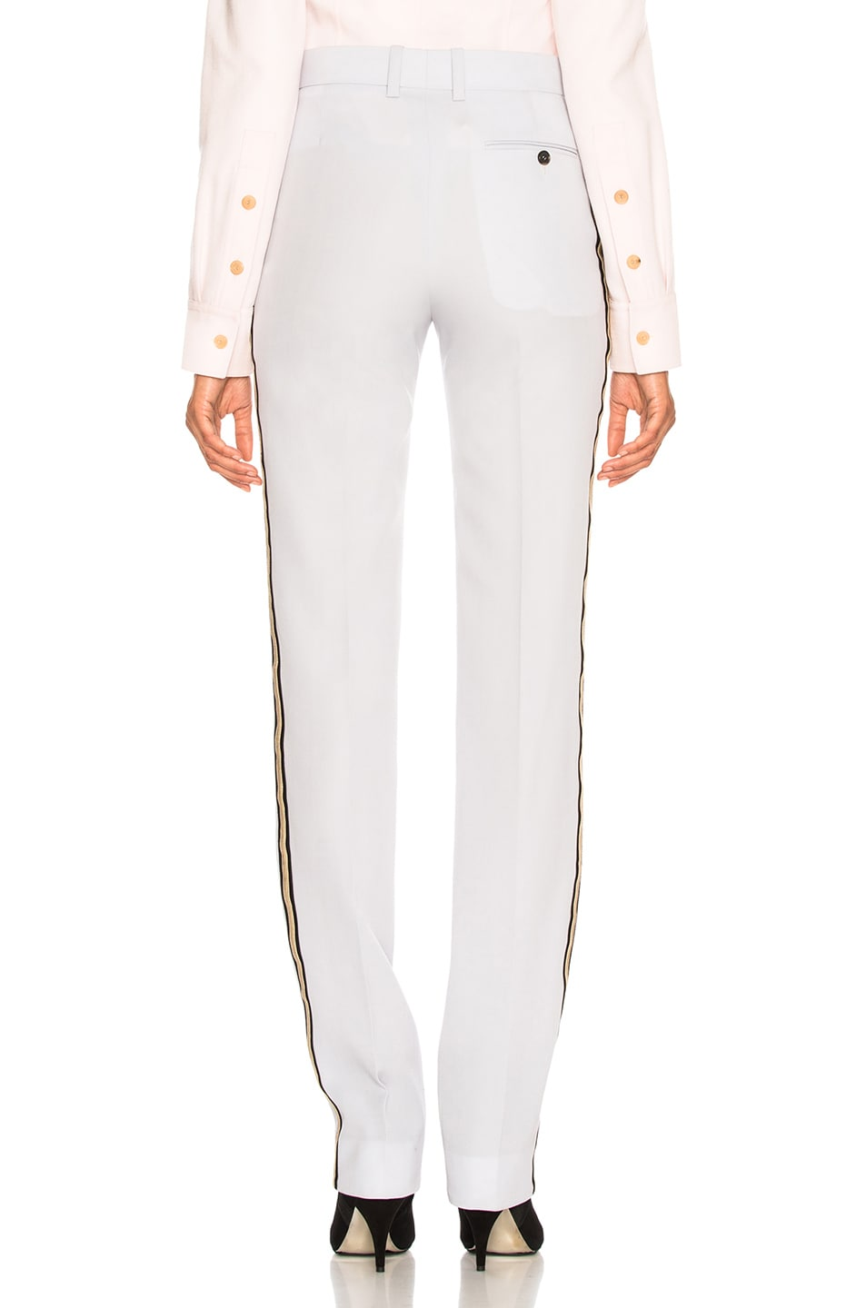 Image 4 of CALVIN KLEIN 205W39NYC Wool Gabardine Side Stripe Trousers in Light Blue