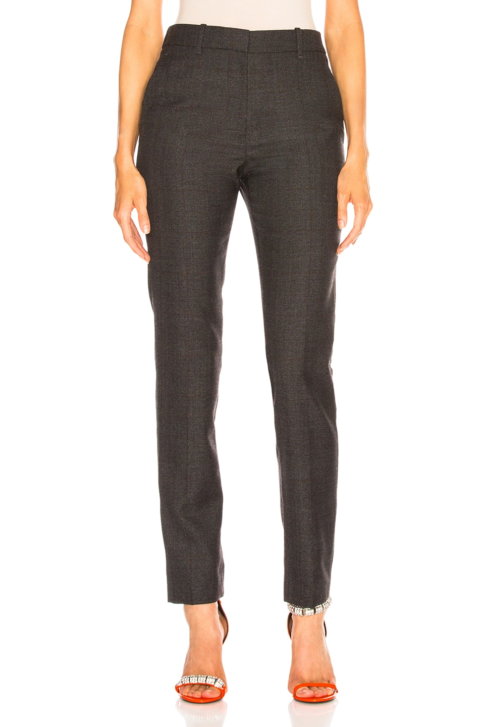 Image 1 of CALVIN KLEIN 205W39NYC Blurred Check Wool Trousers in Grey