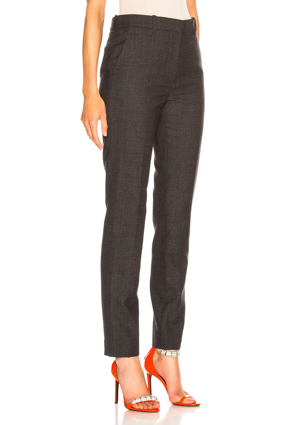 Image 2 of CALVIN KLEIN 205W39NYC Blurred Check Wool Trousers in Grey