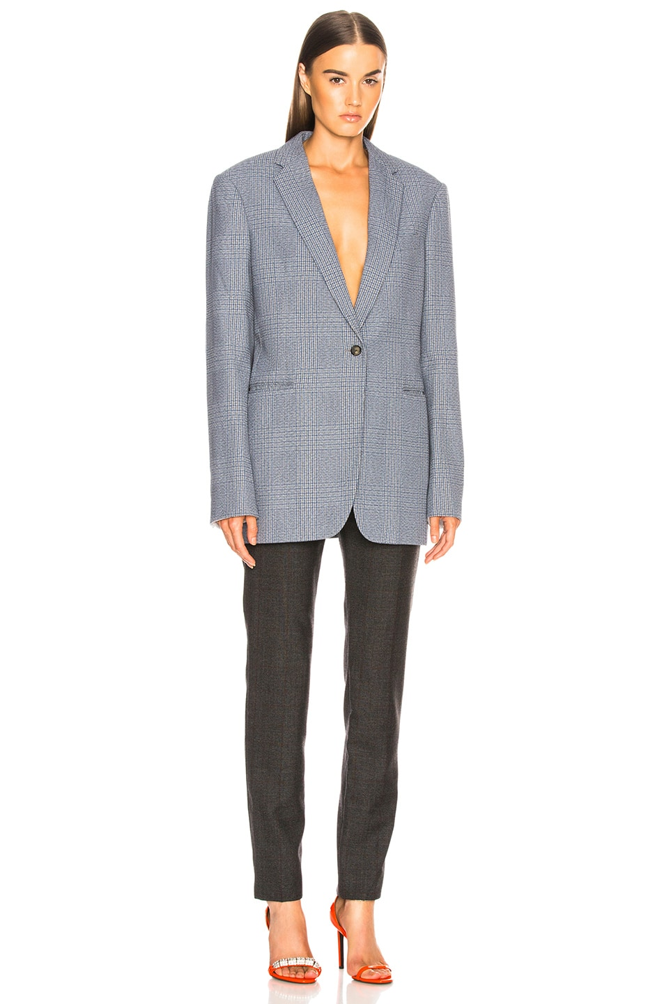 Image 4 of CALVIN KLEIN 205W39NYC Blurred Check Wool Trousers in Grey