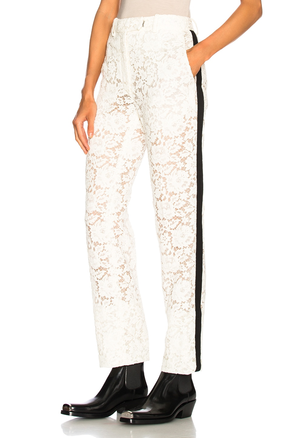 Image 1 of CALVIN KLEIN 205W39NYC Cotton Viscose Lace Trousers in Ivory
