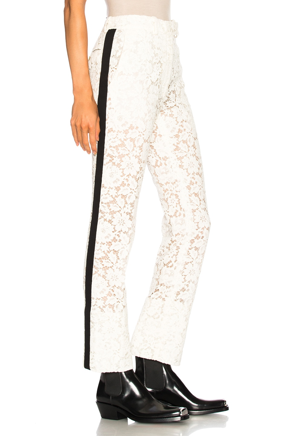 Image 2 of CALVIN KLEIN 205W39NYC Cotton Viscose Lace Trousers in Ivory