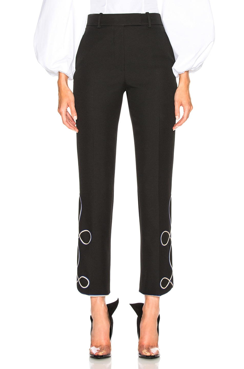 Image 1 of CALVIN KLEIN 205W39NYC Uniform Twill Embroidered Cropped Trousers in Black