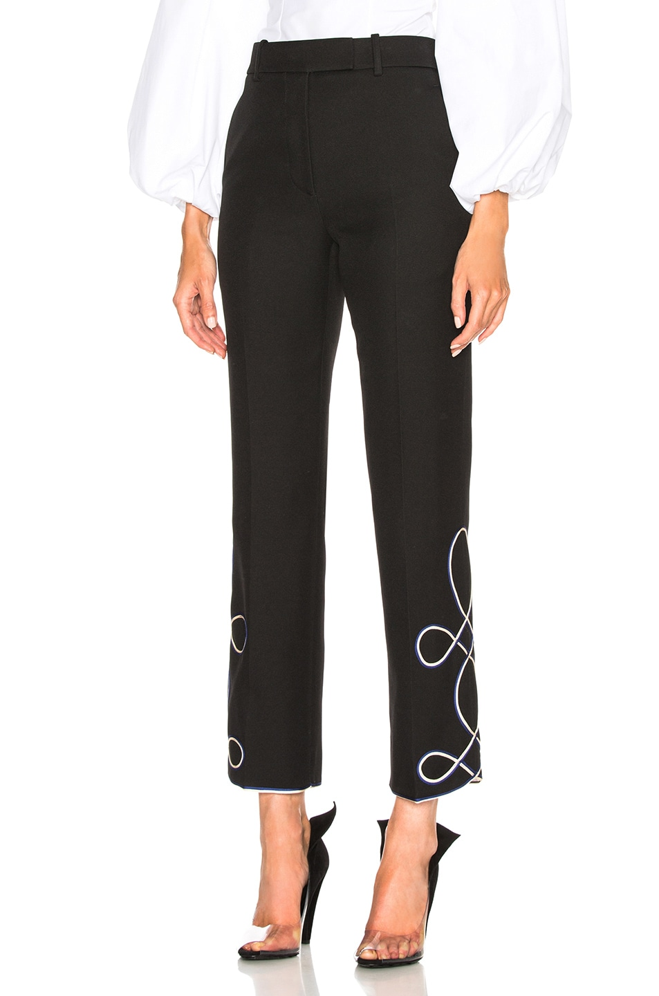 Image 2 of CALVIN KLEIN 205W39NYC Uniform Twill Embroidered Cropped Trousers in Black