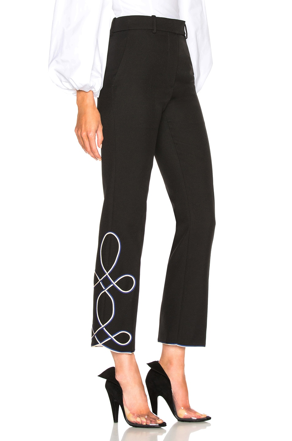Image 3 of CALVIN KLEIN 205W39NYC Uniform Twill Embroidered Cropped Trousers in Black