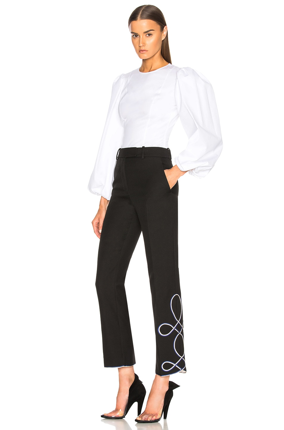 Image 5 of CALVIN KLEIN 205W39NYC Uniform Twill Embroidered Cropped Trousers in Black